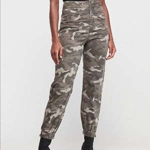 Express-Super High Waisted Button Fly Jogger Pant